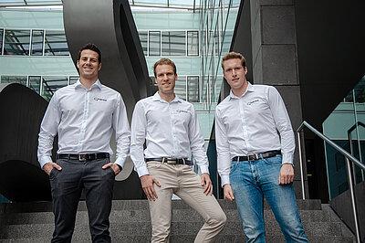 Horst Fuchs (links) mit seinen Gründerkollegen Markus Wagner und Mathias Holzinger (re.). © Xaleon